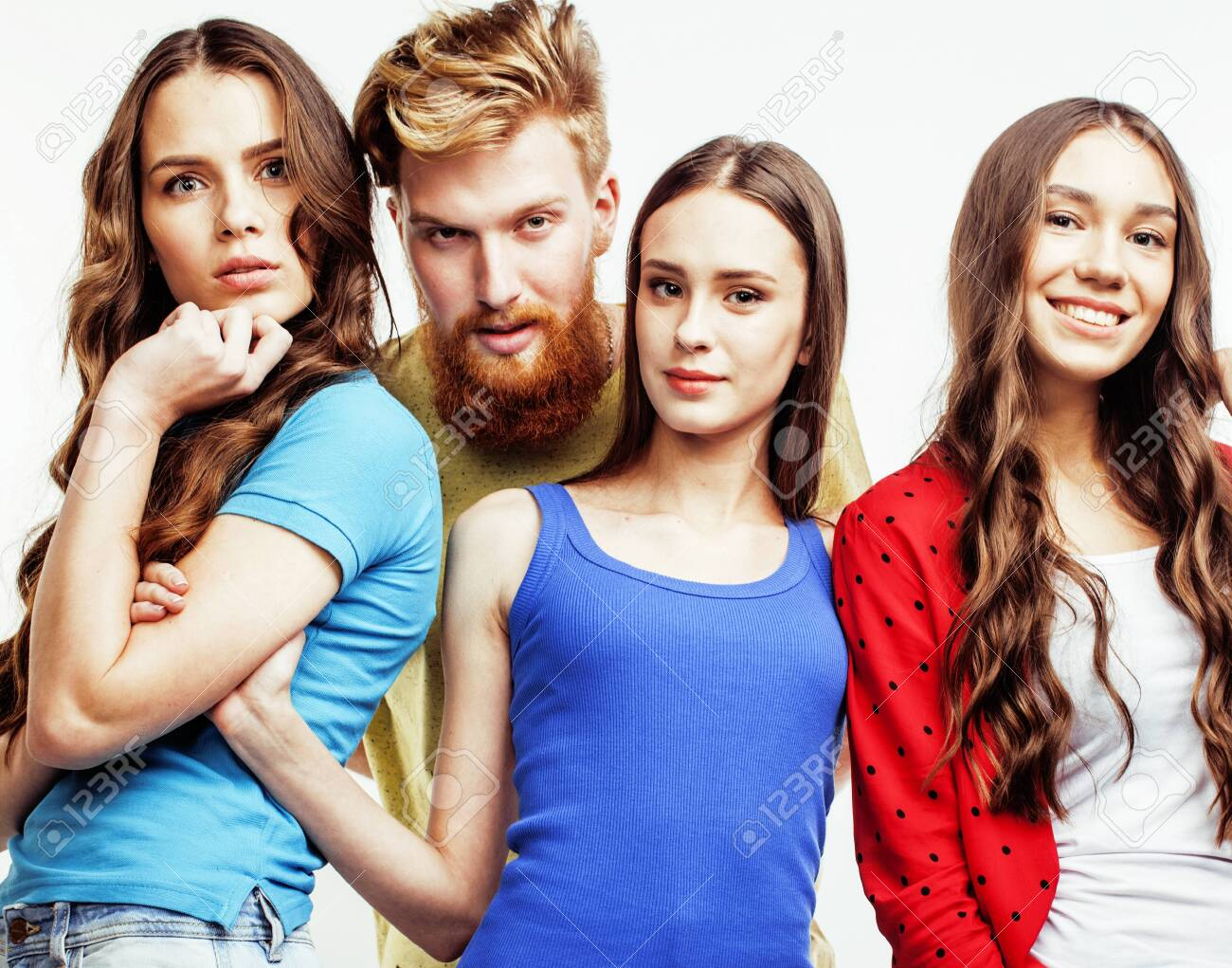company of hipster guys, bearded red hair boy and girls students having fun together friends, diverse fashion style, lifestyle people concept isolated on white background - 148479563