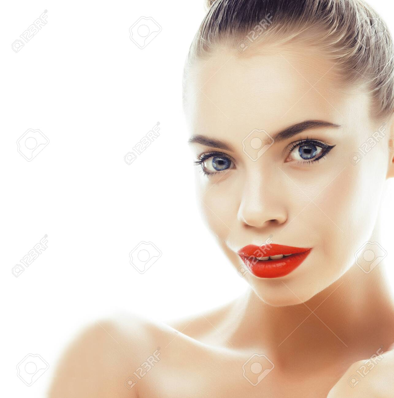 young pretty brunette real woman close up isolated on white background. Fancy fashion makeup, natural look spa - 148700637