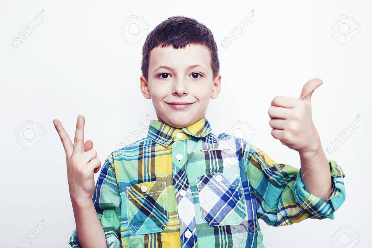 little cute real boy on white background gesture smiling close up, lifestyle people concept - 148726970