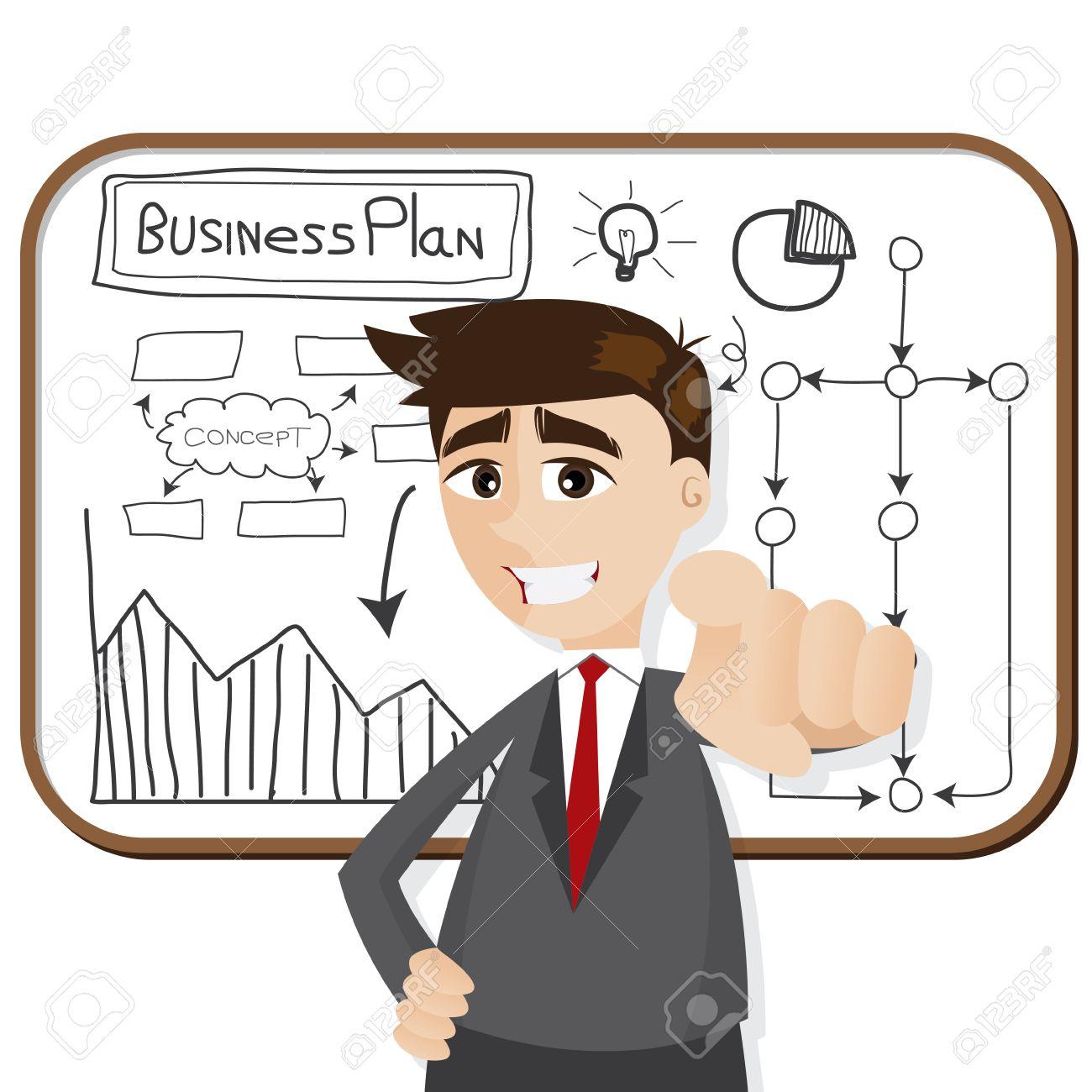 事業計画と漫画のビジネスマンのイラストのイラスト素材ベクタ Image