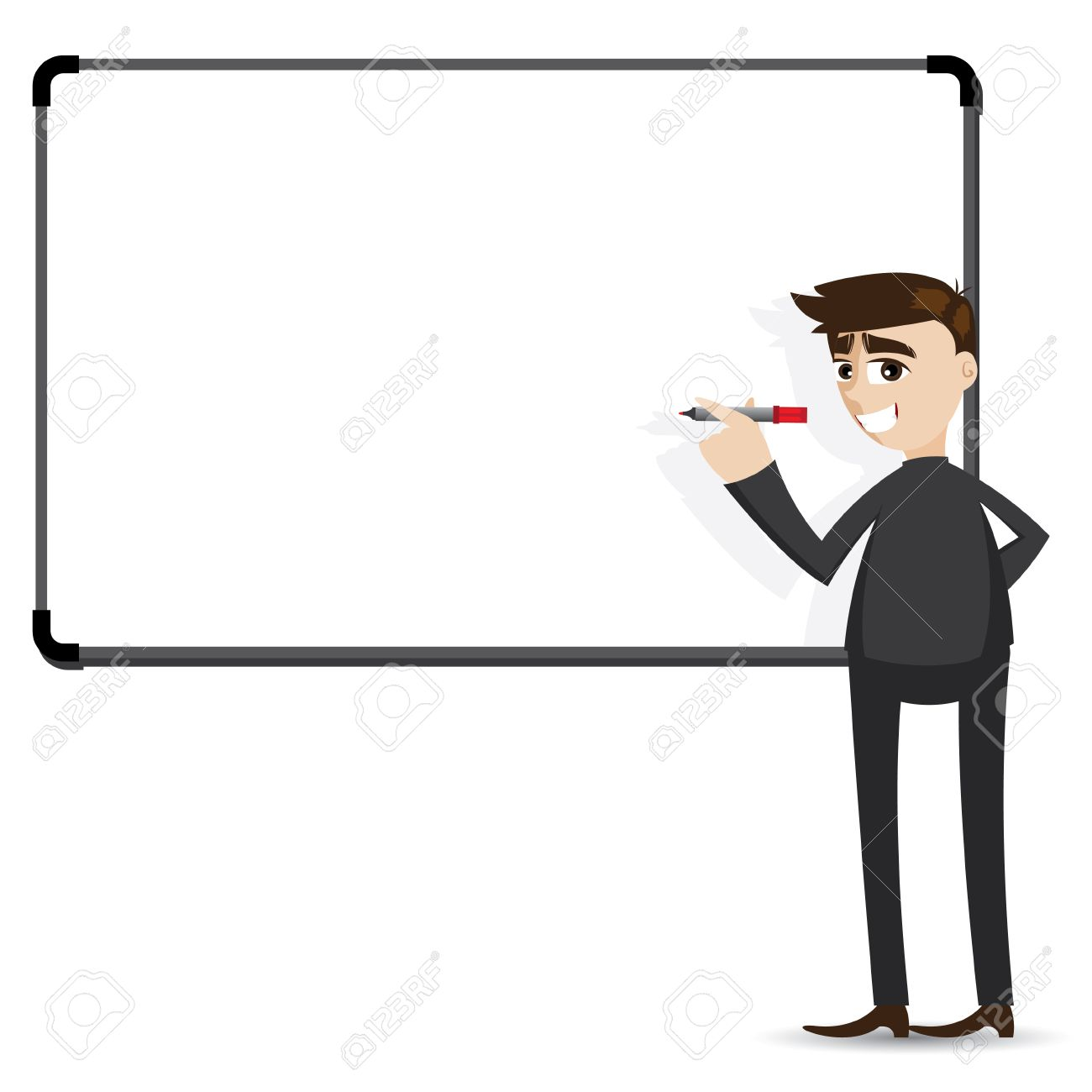 illustration of cartoon businessman writing whiteboard in
