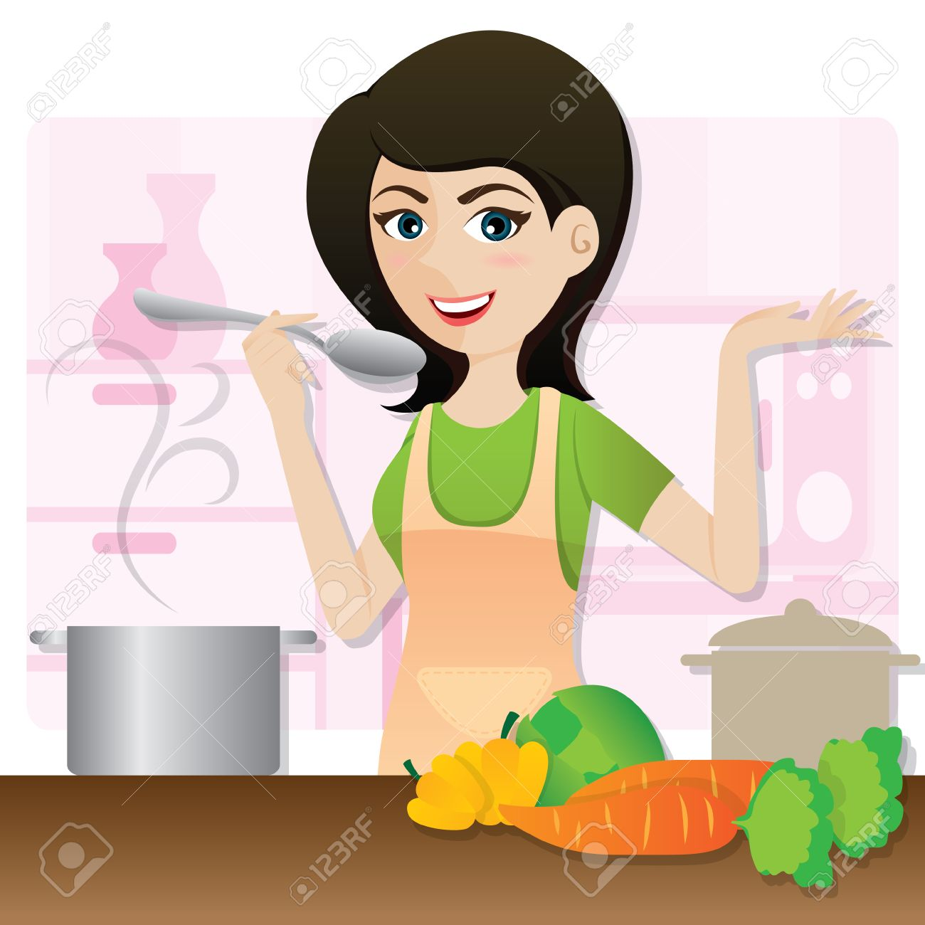 Illustration Of Cartoon Smart Girl Cooking Vegetarian Soup In