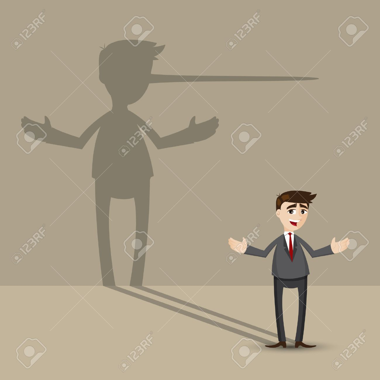 illustration of cartoon businessman with long nose shadow on wall in lying concept - 28638009