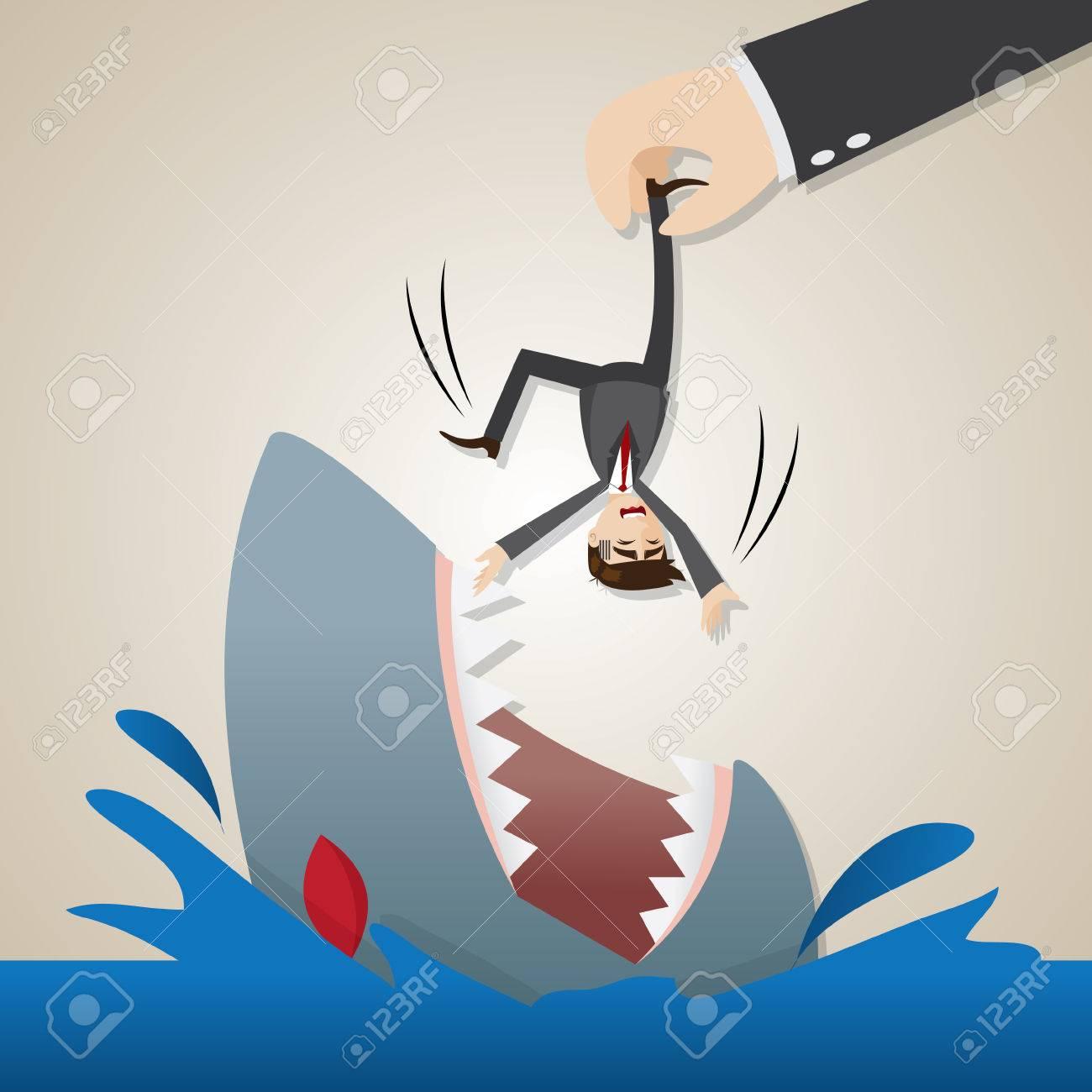 イラスト漫画実業家で空腹のサメ...