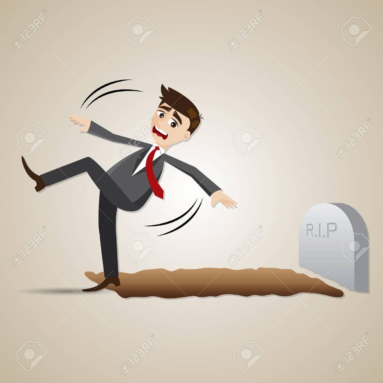 イラスト漫画実業家で墓地に落ち...