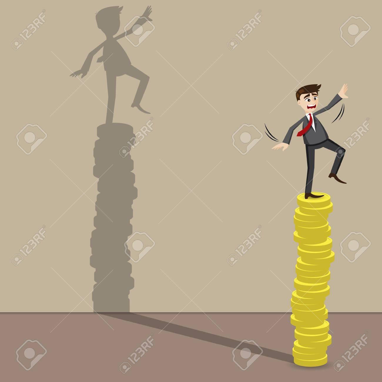 Ilustración de dibujos animados de negocios en la parte superior de la moneda de oro en riesgo el concepto de la inversión