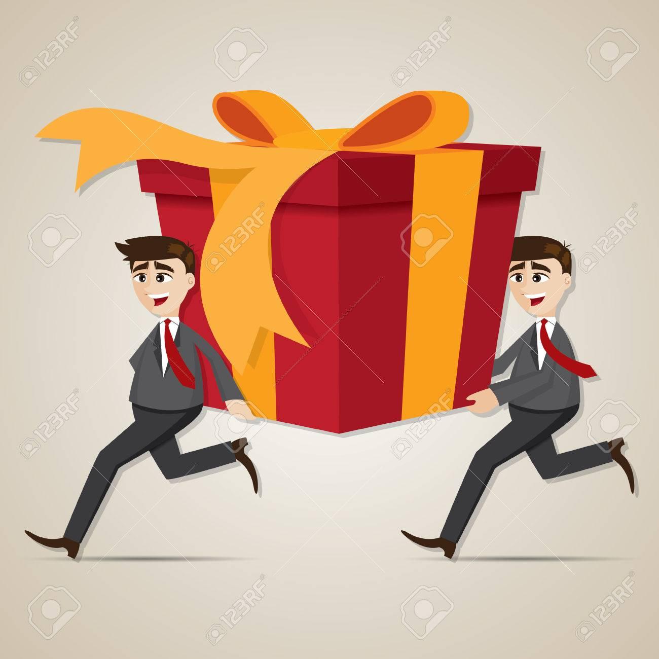 illustration of cartoon businessman carrying big gift box royalty