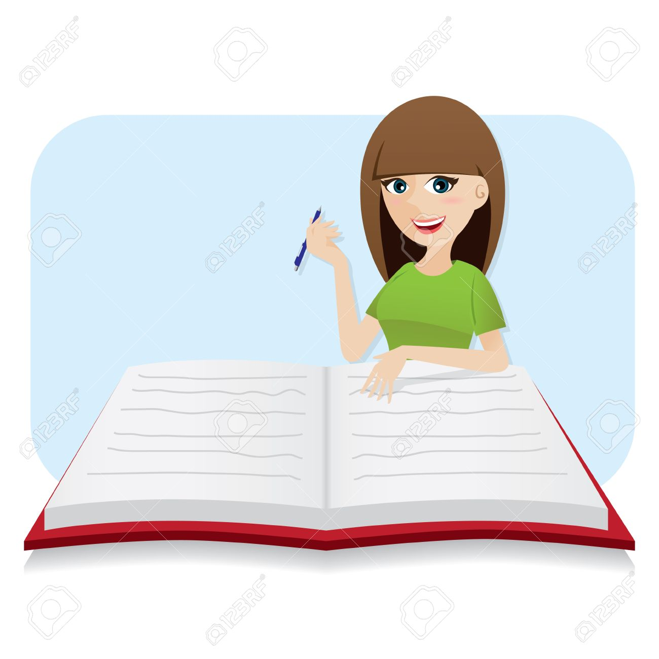 illustration of cartoon smart girl writing big diary royalty free