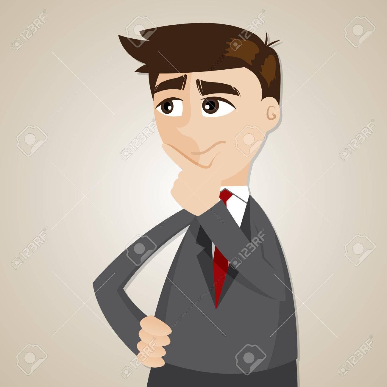 Ilustración De Dibujos Animados Hombre De Negocios Pensando En El