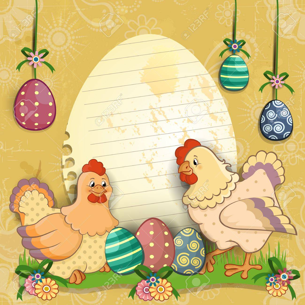 Paper ticket egg shaped with chicken and easter eggs most  decors-tiered-transparency