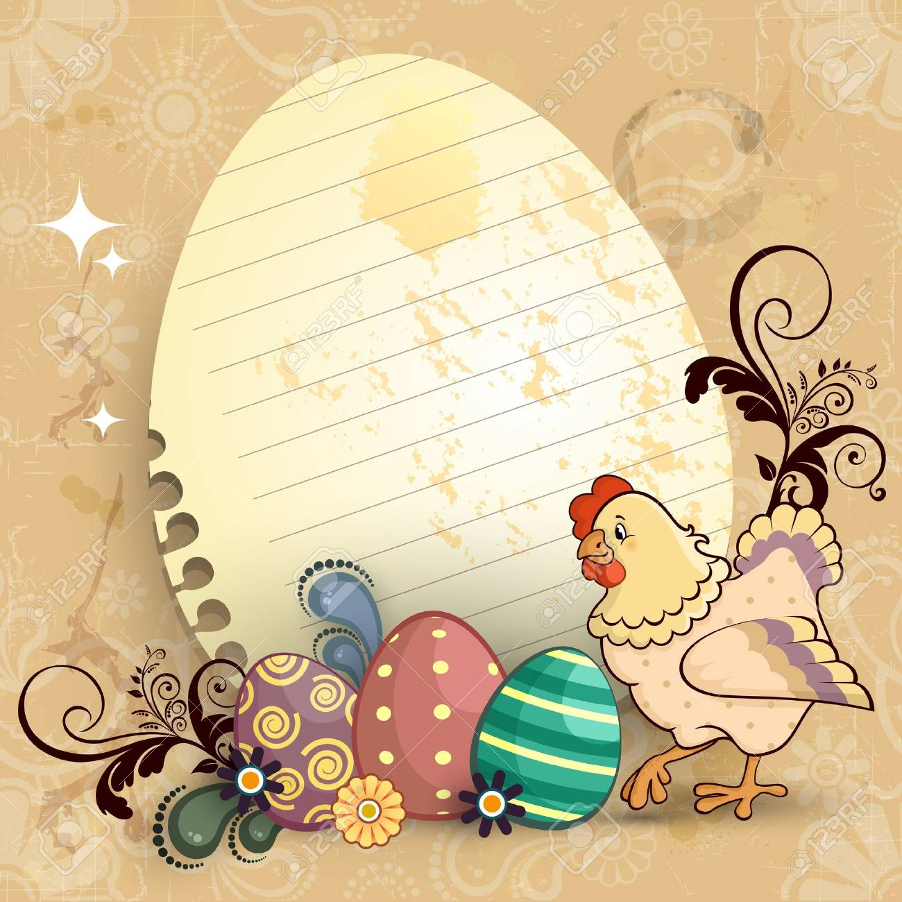 Paper ticket egg shaped with chicken and easter eggs most decors-tiered-