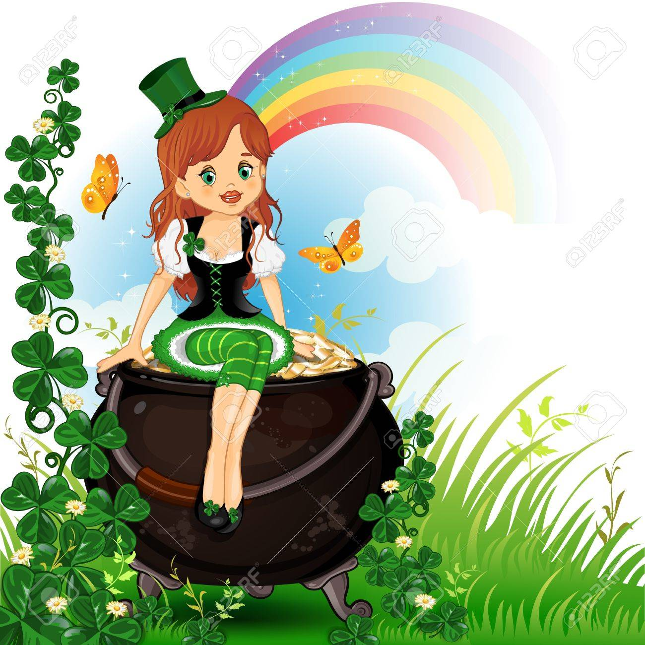 Elf girl sitting on pot of gold with grass and clover- Stock Vector - 18002226