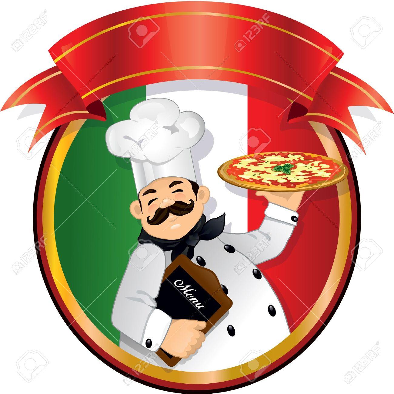 Pizza Chef Logo Pizza Chef Holding a Pizza