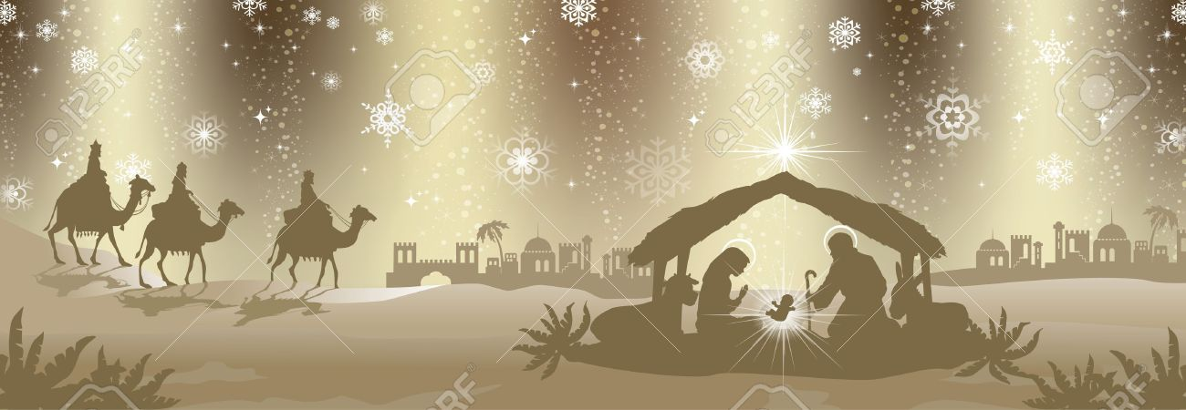 Nativity scene with the three kings gold-colored -Effects of transparent green background fusion - 18452310