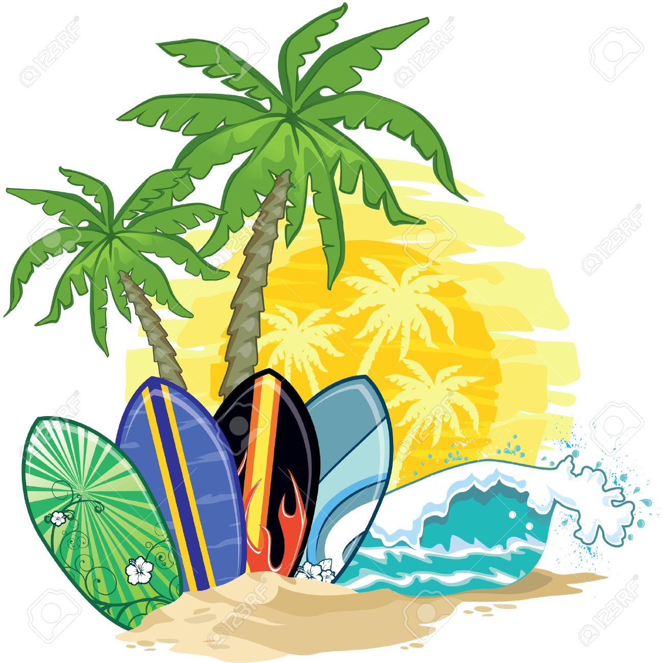tropical landscape, palm trees and surfboards Stock Vector - 18856928