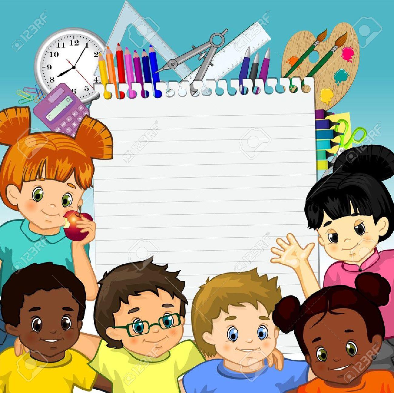 Kinder Um Ein Blatt Papier Und Werkzeuge Für Die Schule-Transparenz ...
