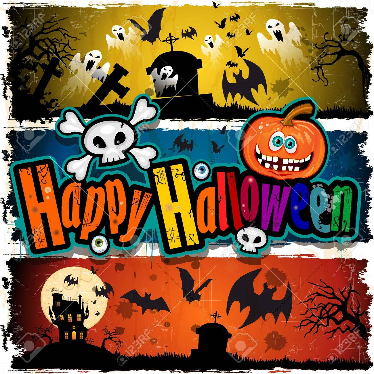 Set Of Happy Halloween Banner Royalty Free Cliparts, Vectors, And ...
