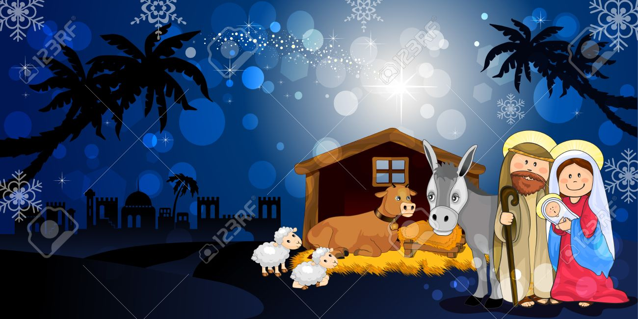 Holy Family in Bethlehem on the night with hut donkey and ox-transparency blending effects and gradient mesh-EPS10 Stock Vector - 23319091