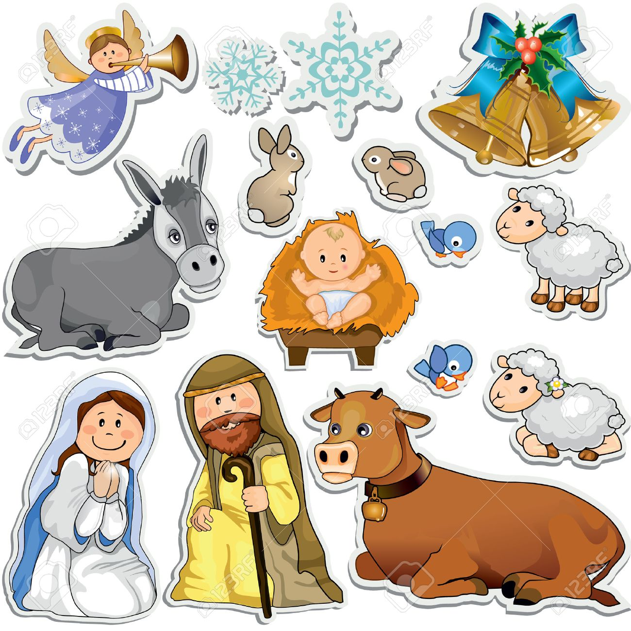 Set of Christmas stickers representing the characters of the holy family-Gradient mask-Eps10 - 23319101