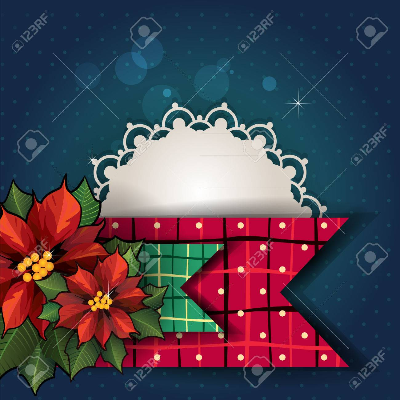stars flowers christmas card with blue with space to insert your