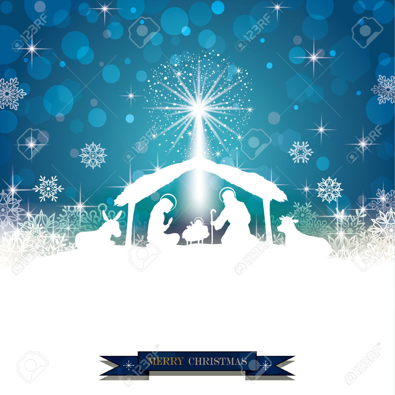 Nativity silhouette White on a Blue Background with Snowflakes-Transparency blending effects and gradient mesh-EPS 10 - 48423802