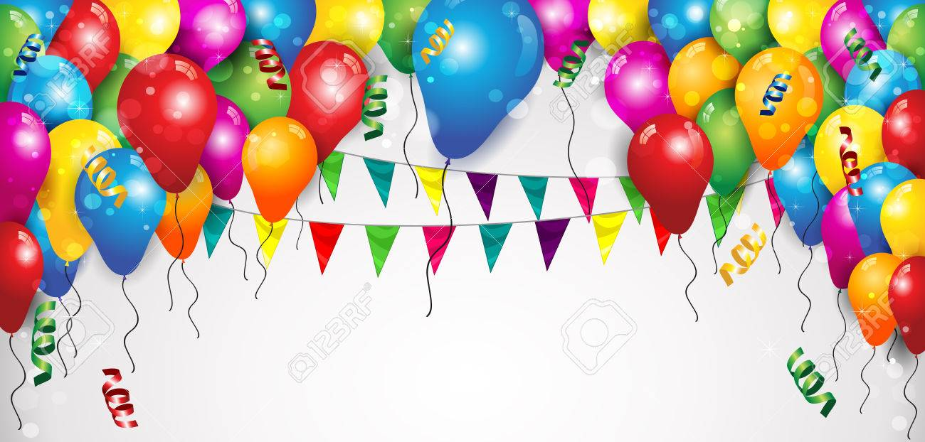 Flags Balloons and Confetti for Parties Birthday with space to insert your text-transparency blending effects and gradient mesh-EPS 10 - 52421488