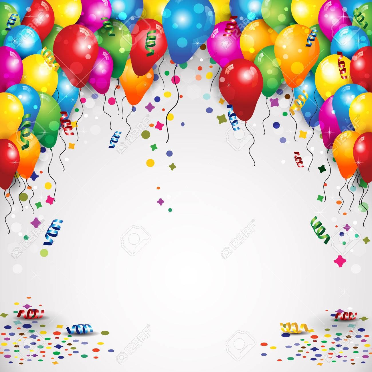 globos y confeti para fiestas de cumpleaos con el espacio para insertar el texto la