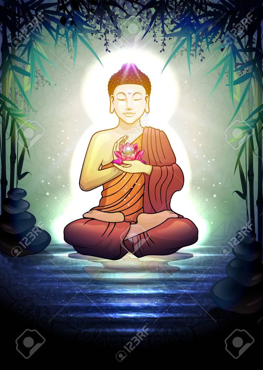 Buddha In Meditation With Lotus Flower In Tranquil Zen Garden