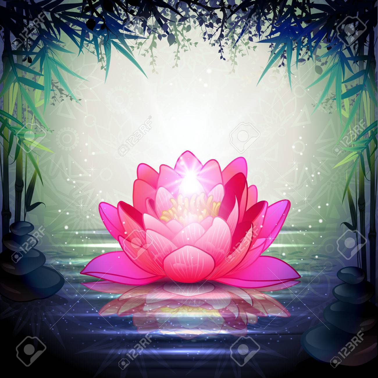 Lotus Flower In Tranquil Zen Garden Transparency Blending Effects