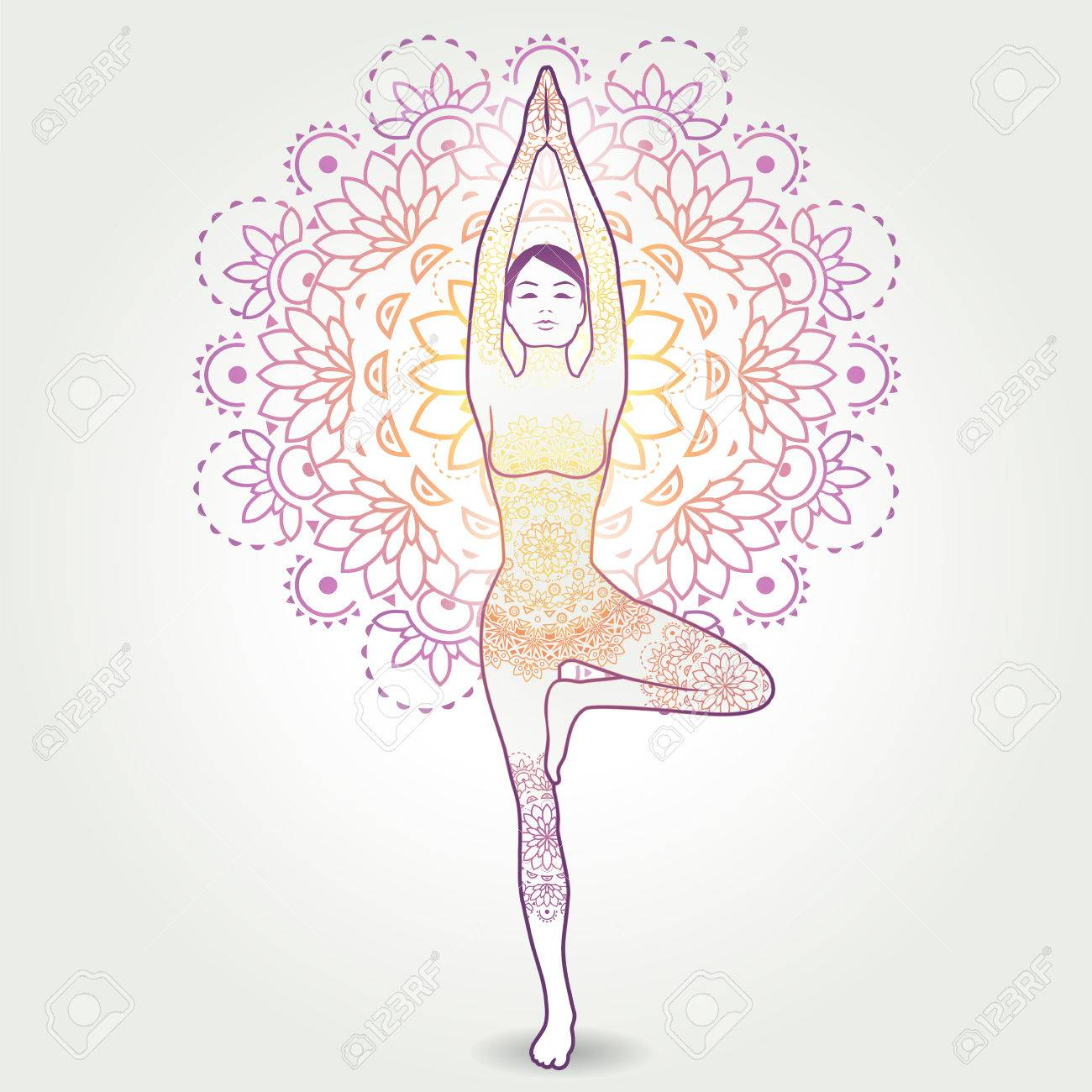 Yoga Asana Vrksasana Tree Pose With Decoration Transparency Blending Effects And Gradient Mesh