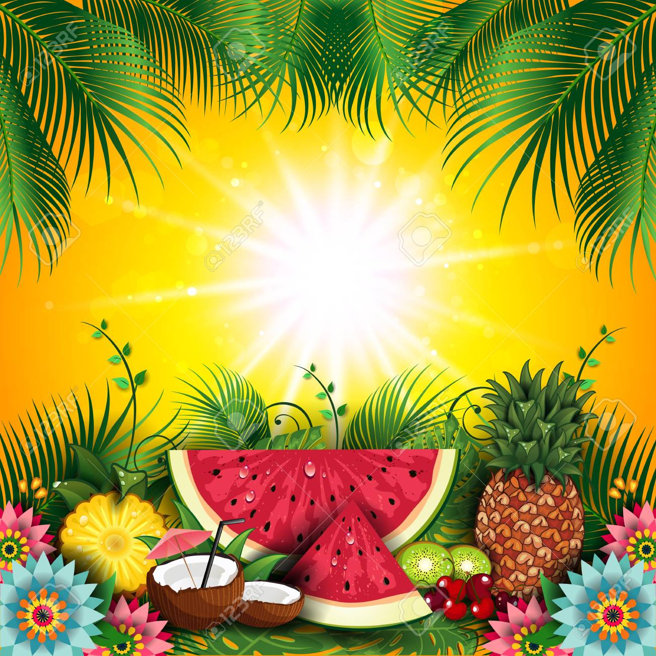 fruits summer tropical editable with space to insert your own