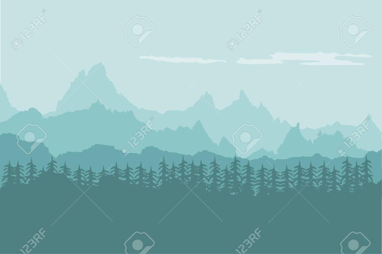 Landscape background of mountains with forest - 145158429