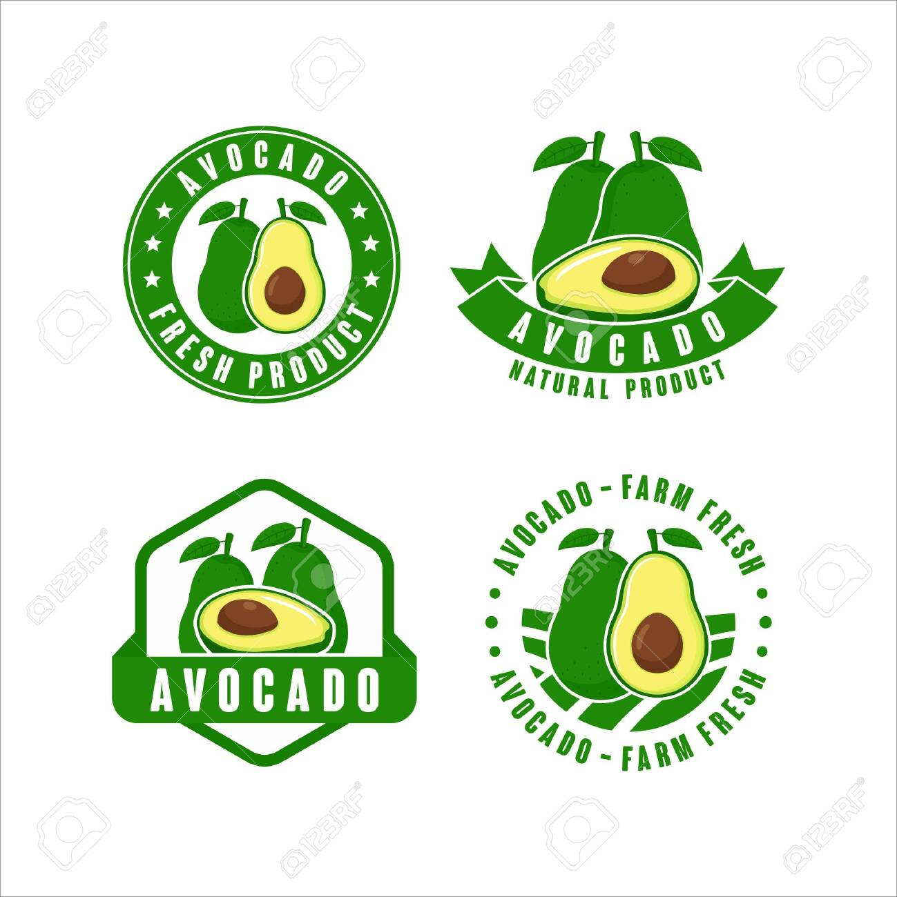 Avocado farm fresh natural product label collection Collection - 153297093