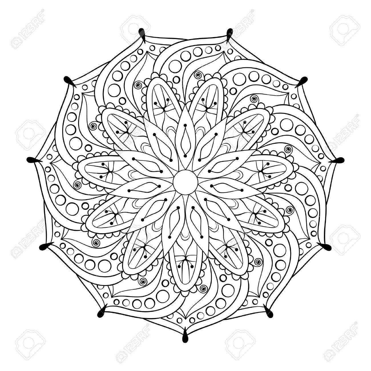 Coloriage Anti Stress Indien.Zentangle Stylisee Elegante Tour Mandala Indien Pour Des Pages A Colorier Anti Stress Adultes Tire Par La Main Ornement Vintage Sur Fond Blanc