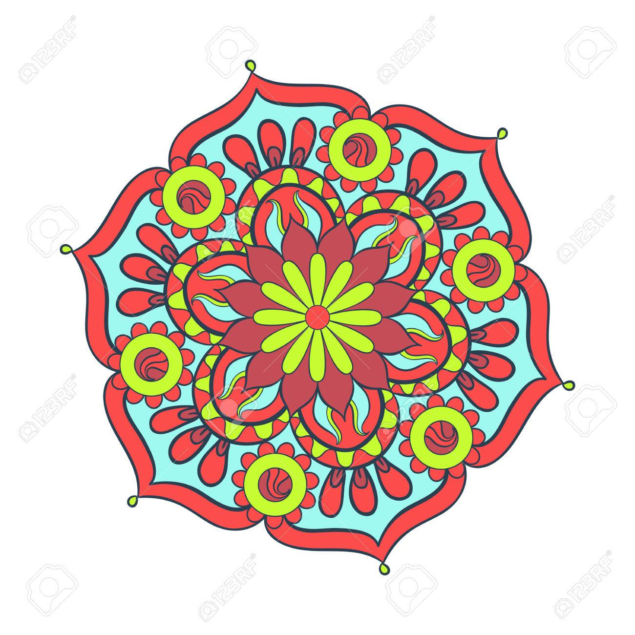 Zentangle Stylized Elegant Color Mandala For Coloring Page. Hand ...