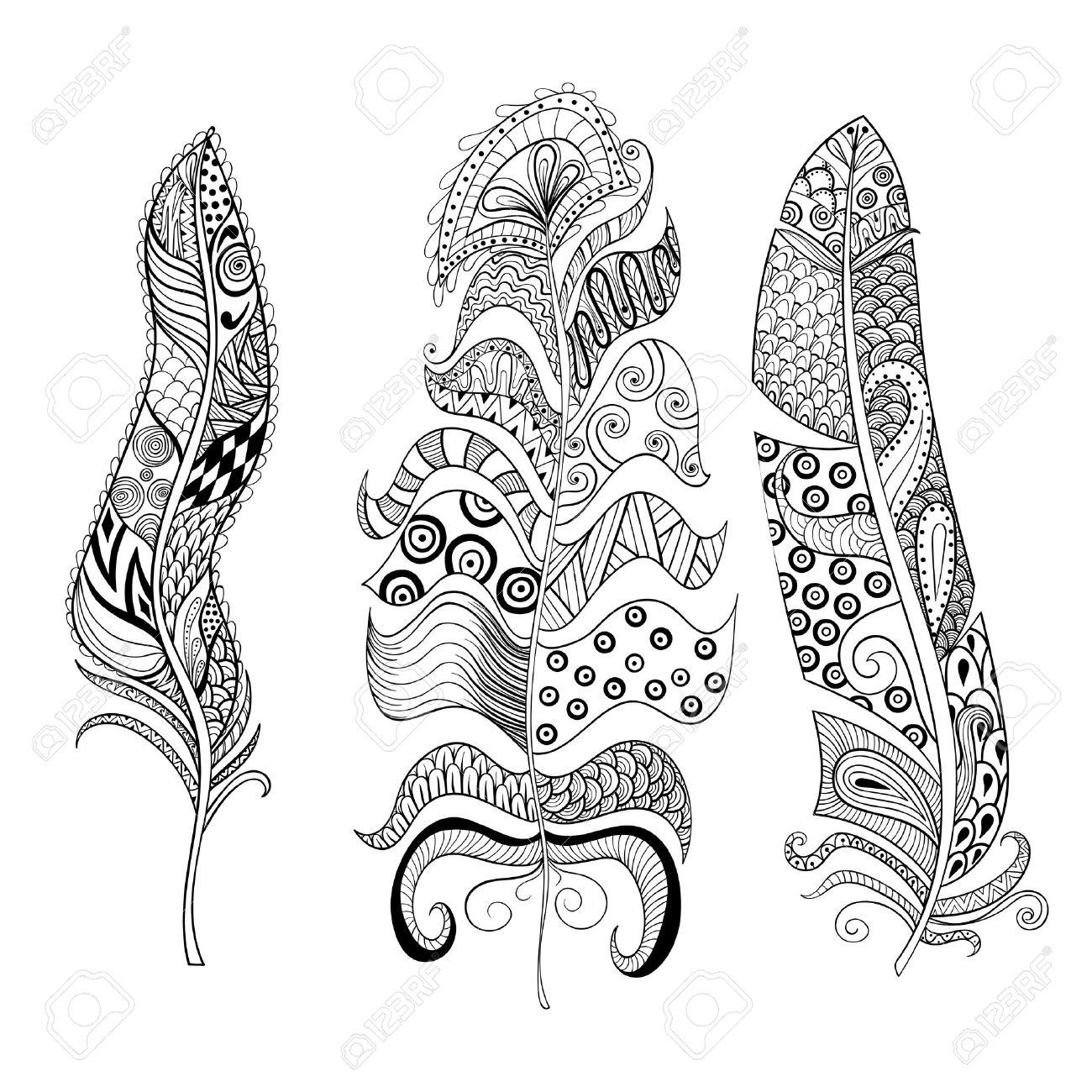 Zentangle Stilisierten Elegant Federn Eingestellt Hand Gezeichnet