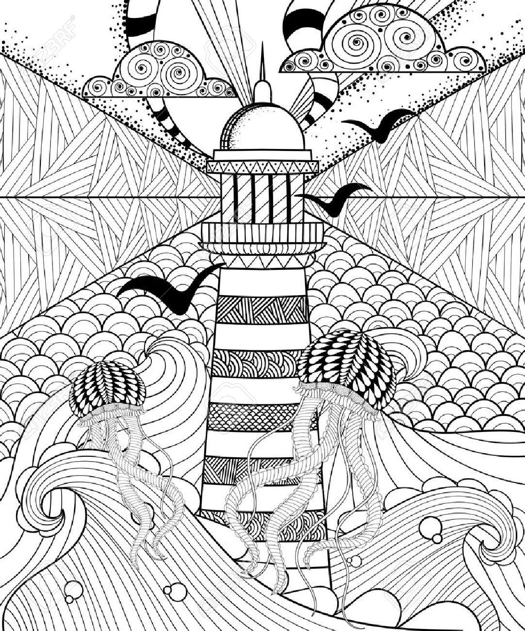 手描き下ろし大人ぬりえページ手際よく民族灯台と海柄のクラゲと落書き