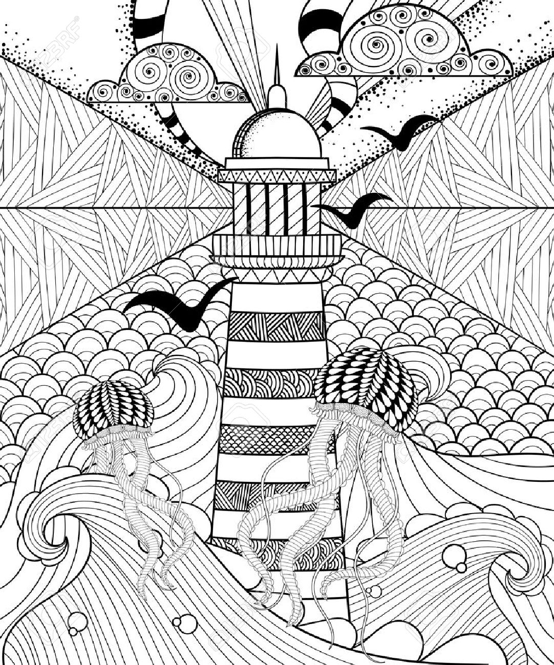 Hand Drawn Adult Coloring Page, Artistically Sea With Ethnic ...
