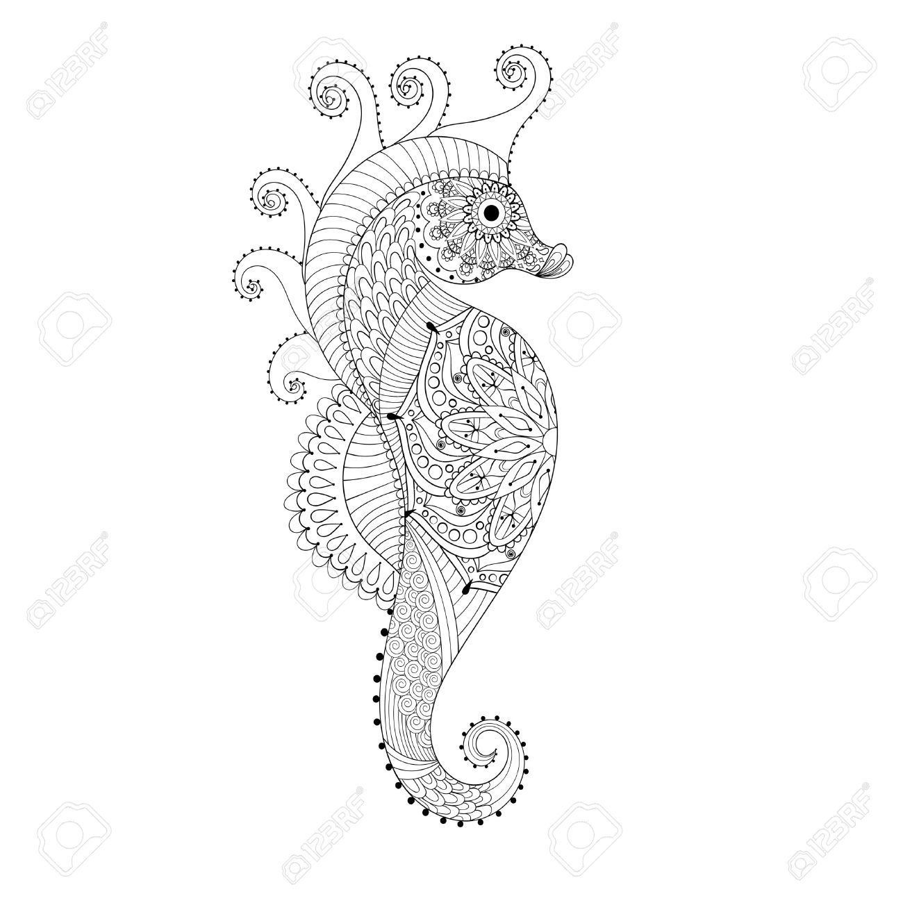 Hand Drawn Sea Horse For Adult Coloring Pages In Doodle Zentangle Tribal Style Mehndi