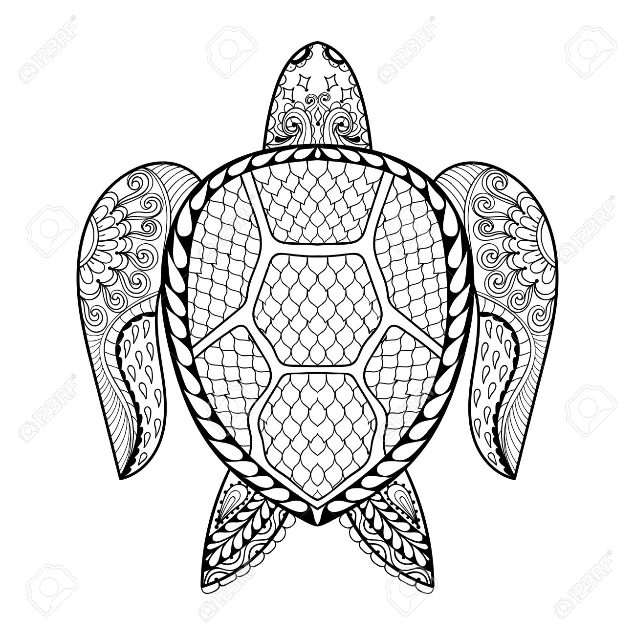 Hand Drawn Sea Turtle Mascot For Adult Coloring Pages In Doodle Zentangle Tribal Style