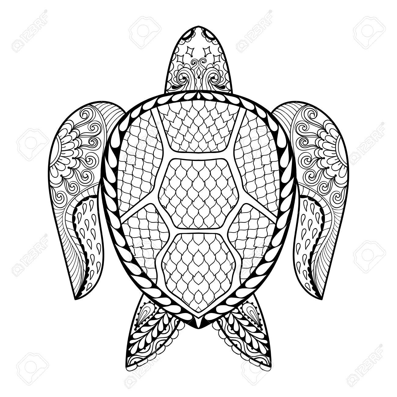 Hand Gezeichnet Meer Schildkröte Maskottchen Für Erwachsene ...