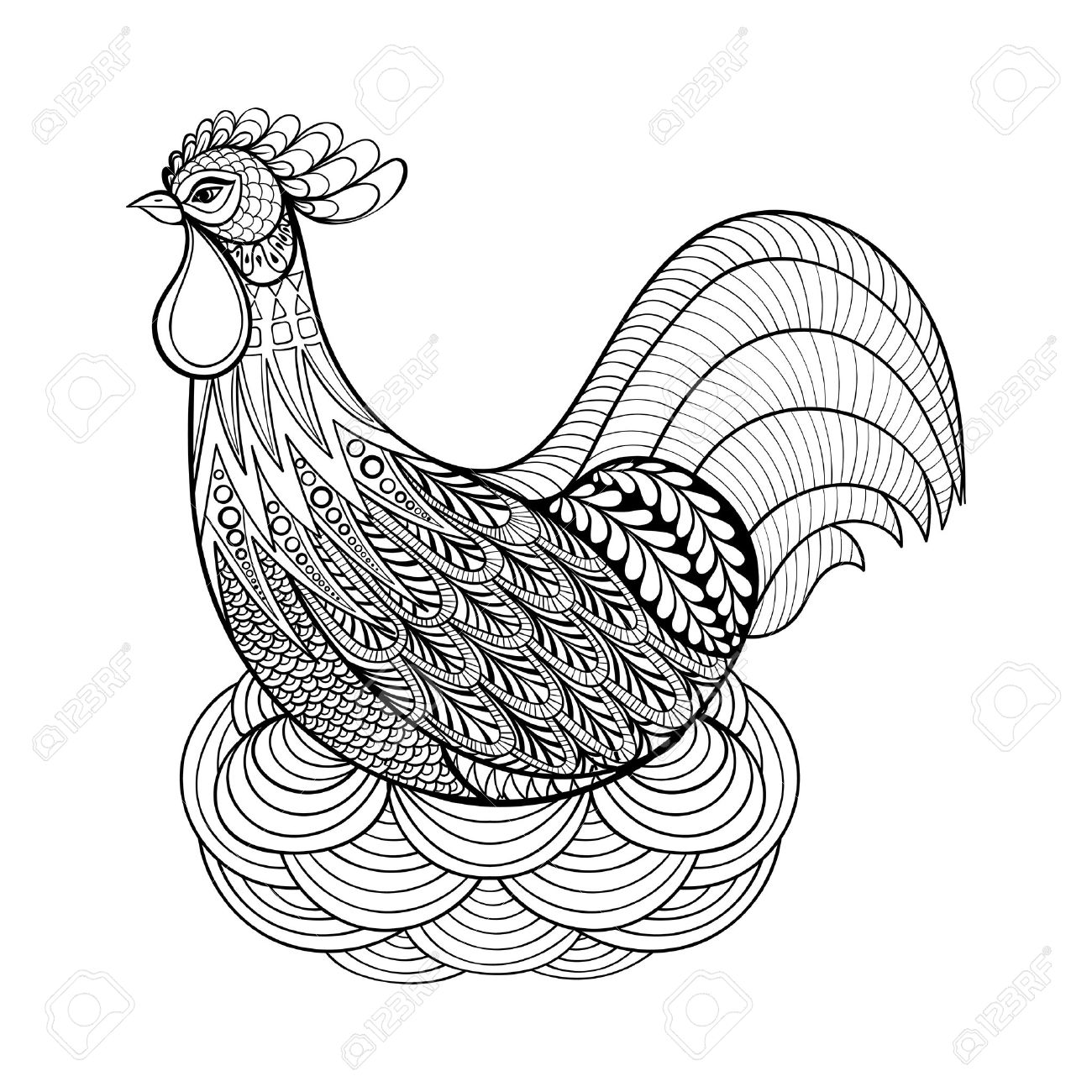 hand drawing chicken in nest for anti stress coloring pages