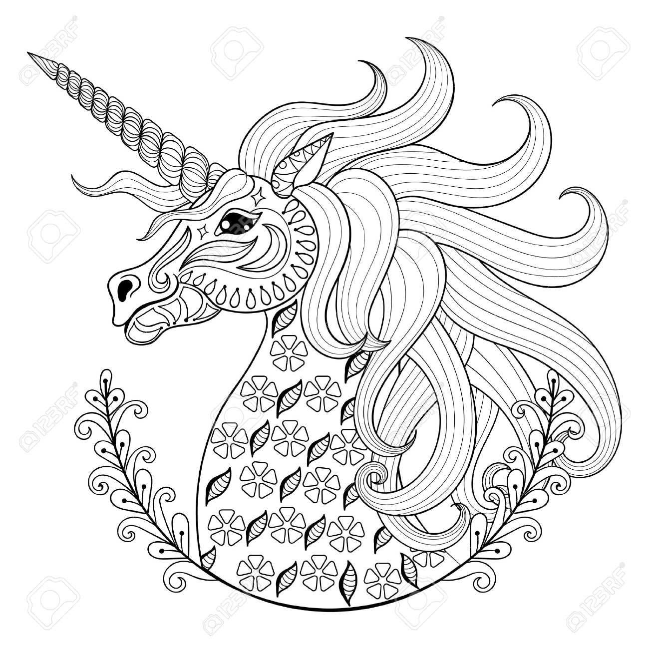 Hand drawing unicorn for adult anti stress coloring pages artistic fairy tale magic animal in