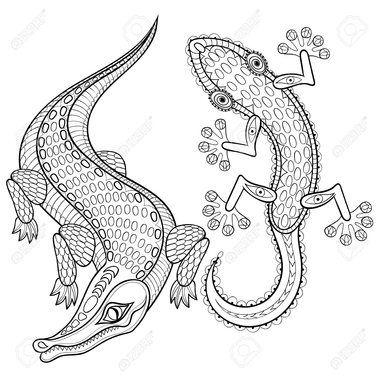 hand drawn zentangled crocodile and lizard for coloring