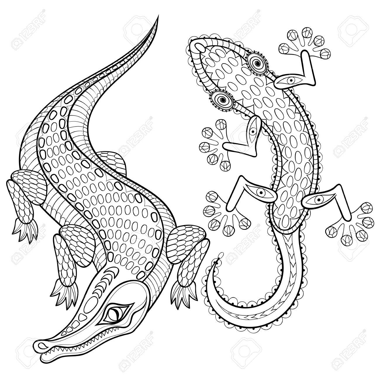 Hand Gezeichnet Zentangled Krokodil Und Eidechse Für Erwachsene ...
