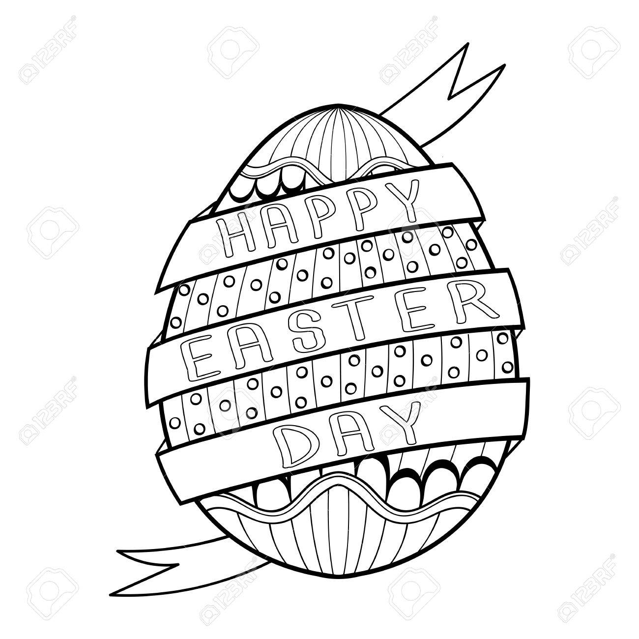 Hand Drawn Artistic Easter Egg For Adult Coloring Page In Doodle ...