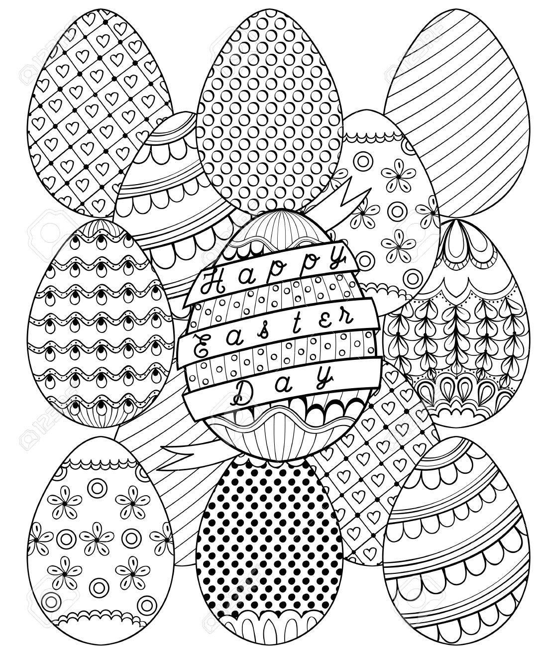 Dibujado A Mano Artística Huevos De Pascua Patrón Para Colorear ...
