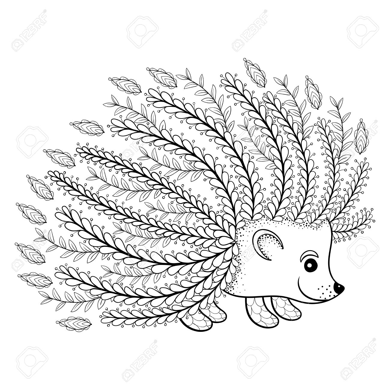 hand drawn artistic hedgehog for coloring page in doodle