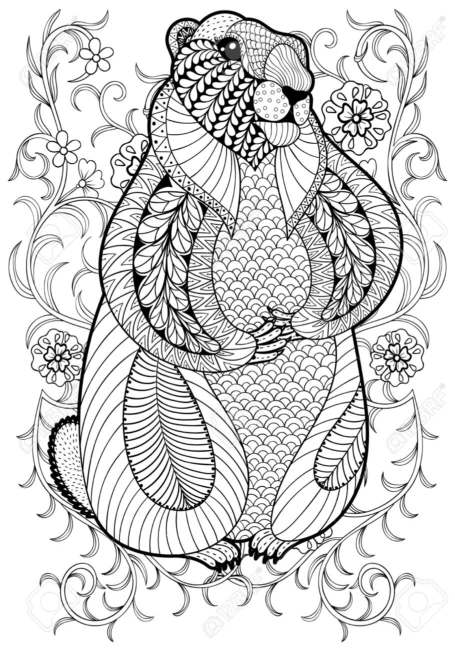 Hand Drawn Artistic Marmot Groundhog In Flowers For Adult Coloring Page A4 Size Doodle