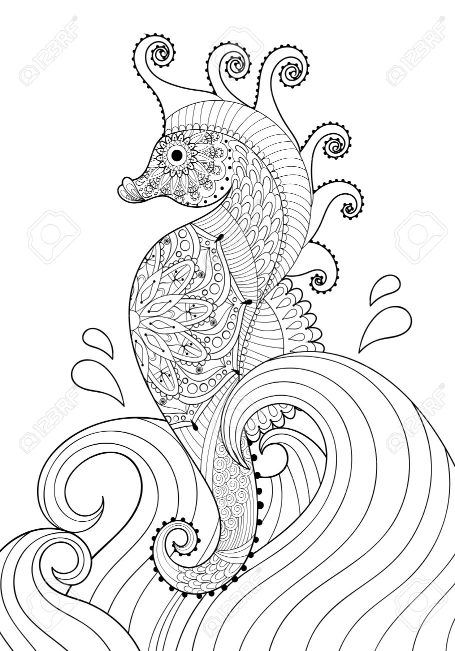 hand drawn artistic sea horse in waves for coloring page